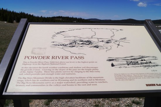 US Highway 16: Powder River pass sign