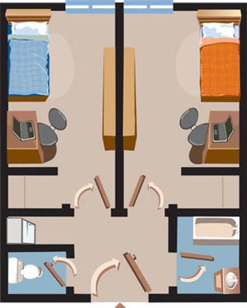 Grenfell Campus Summer Accommodations, Memorial University of Newfoundland: Floor Plan - Arts & Science Residence