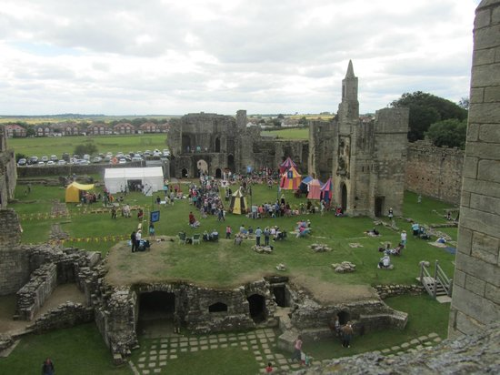 Warkworth Castle: Castle grounds during a Knights fun weekend