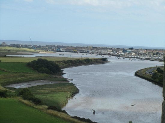 Warkworth Castle: Amble harbour as seen from the castle