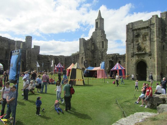Warkworth Castle: Archery ,jousting and other knightly skills being taught.