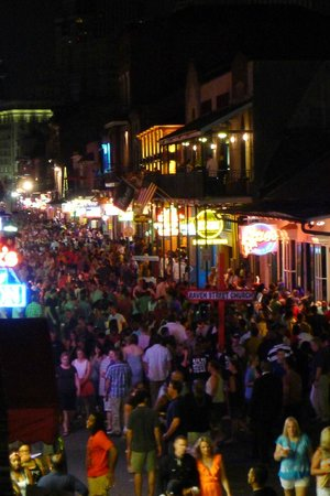 Bourbon Street: lots of people out and about