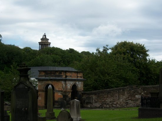 View to Calton hill from Canongate Kirkyard