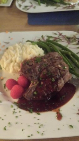 Blu' Island Bistro: Colorado Elk with chipotle/raspberry sauce and mashed potatoes and green beans