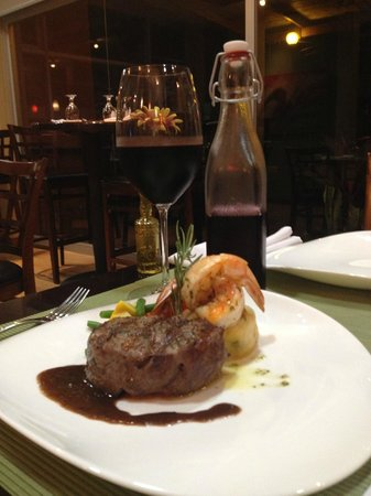 Cafe Conchal & Wine Bar: Grilled beef tenderloi, jumbo shrimp, chive mashed potatoes and a malbec reduction