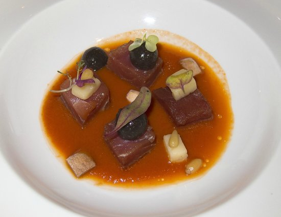 Vertical: Tuna, goat cheese and spherified olives