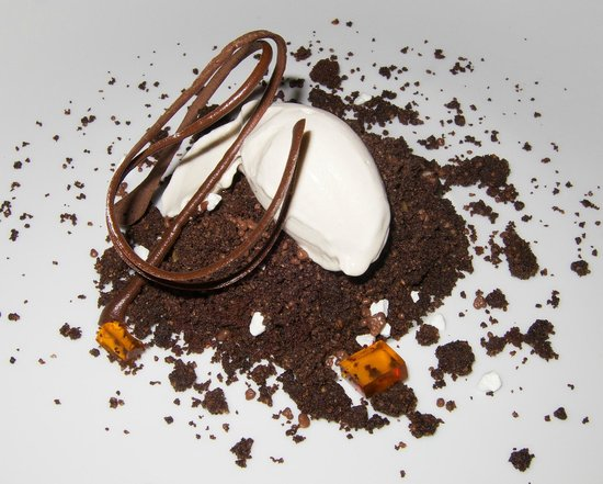 Vertical: Coffee and chocolate crumble with panacotta ice cream