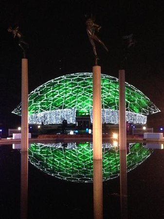 Missouri Botanical Garden: The amazing climatron lit up by a net of lights that seems to have been made for the structure.