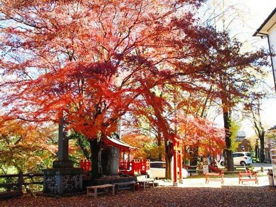 Saru Bridge : 紅葉に包まれた猿王を祭る山王宮の小さなお社