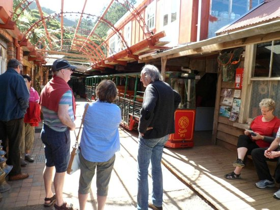 Driving Creek Railway and Potteries: The station with Barry Bricknell on the right