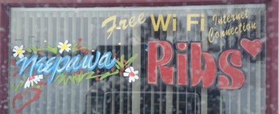 Christmas Window decoration at Mr. Ribs     Main St. SW, Neepawa, Manitoba