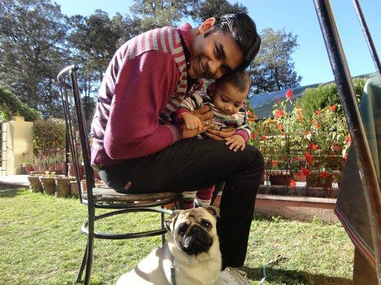 Sagrika Resort : Me and my child enjoying in the garden.