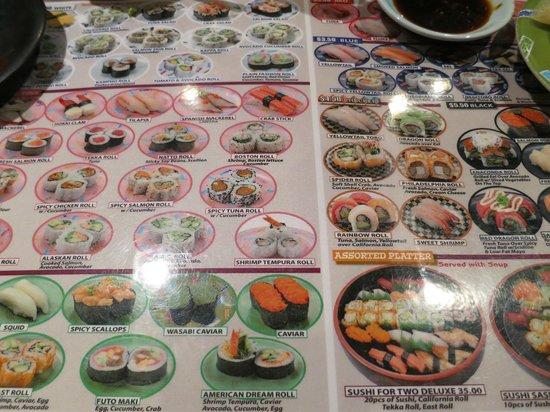 East Japanese Restaurant: メニュー表(一部)