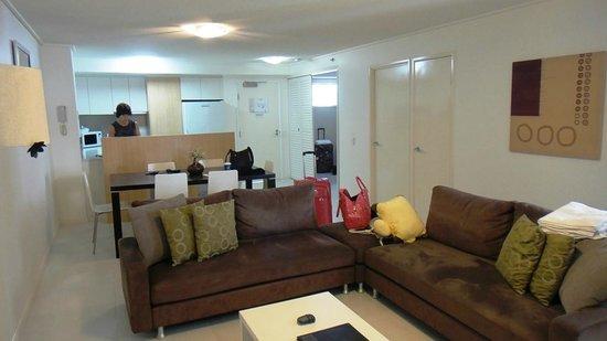 Seamark On First: living area & kitchen