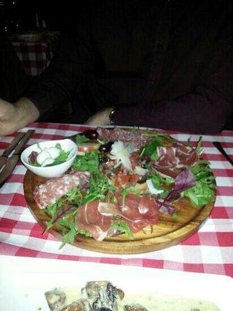 Santini's: Antipasti for one. Impressive but worth £10????