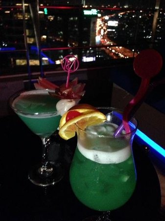 """Mode Sathorn Hotel : """"KTC"""" a specially customised cocktail for us and Blue Saphire, the award winning cocktail made o"""