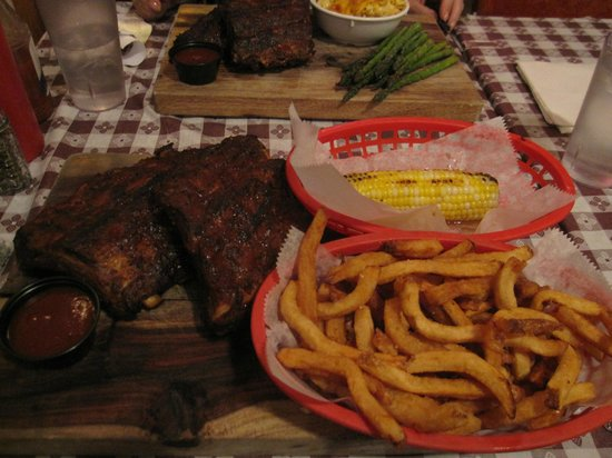 Georgia's Eastside BBQ : Ribs with corn on the cob and french fries