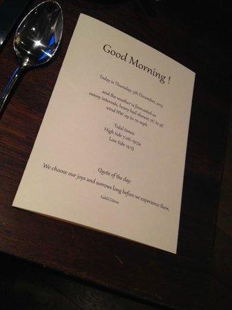 Hillstone Lodge: Personalised breakfast menu