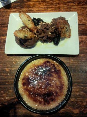La Pepita: Crema catalana e mousse cioccolato con olio di oliva