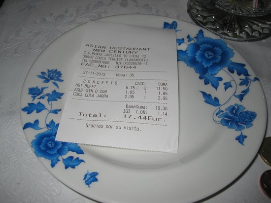 21st Century Chinese Buffet Restaurant: Scontrino