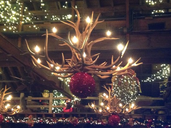 photo chandelier and decorations over dining area - Barn Christmas Decorations