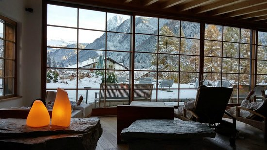 Hotel Adler Dolomiti Spa & Sport Resort : sala relax panoramica