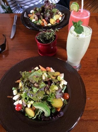 Delicious Garden Salad and Smoothies