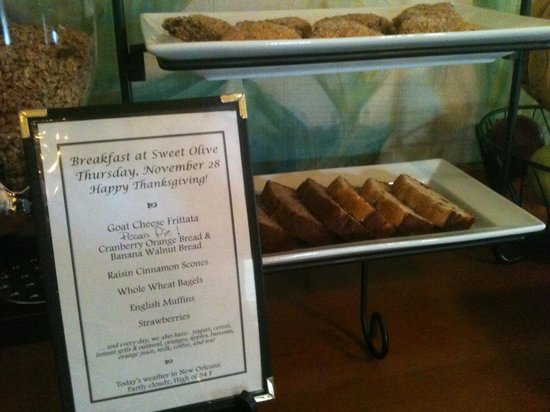 Auld Sweet Olive Bed and Breakfast: Breakfast Menu
