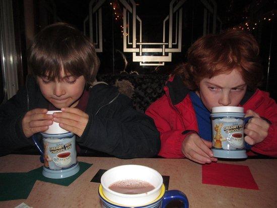 Saratoga and North Creek Railway: enjoying hot chocolate