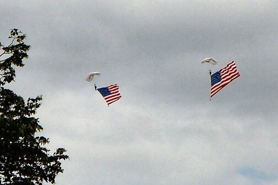 Penn's Landing: flags from the sky