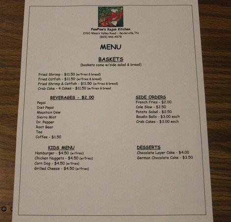 PawPaw's Kajun Kitchen: MENU PAGE 2