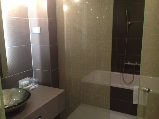 Hotel UNIC Prague: Half of bathroom.  The other side has a room with toilet.  The rainfall shower is great.