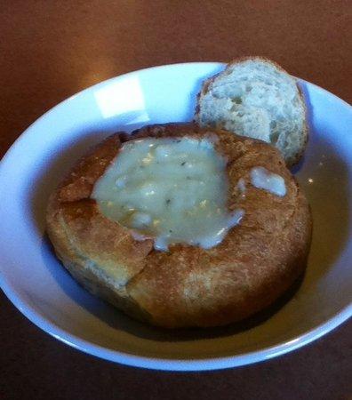 Bread Company on Goodwin: Potato soup in bread bowl