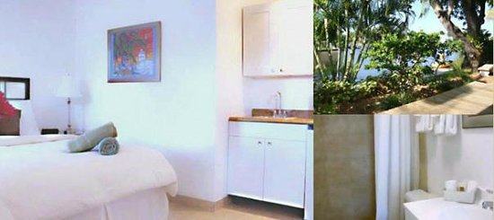 The Cabanas Guesthouse & Spa : Waterfront room with queen size bed, wet bar, refridgerator,semi private patio and much more.