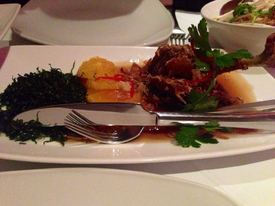 Thai Square - Putney Bridge: Duck in Tamarind: this is a crispy duck leg with tamarind sauce.  It comes with crispy seaweed a