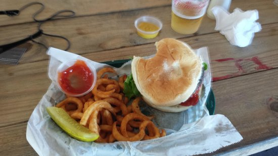 O'Leary's Tiki Bar & Grill: Good burger and curly fries.