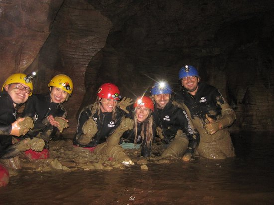 Kiwi Cave Rafting: they even let us have a mud fight