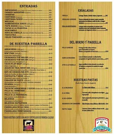 Churrasco's Parrilla Argentina : Nuestro Menu