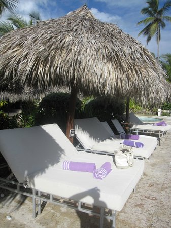 The beach beds assigned for the duration of our stay.