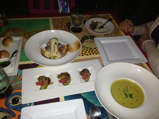 med ceviche, scallops, poblano soup