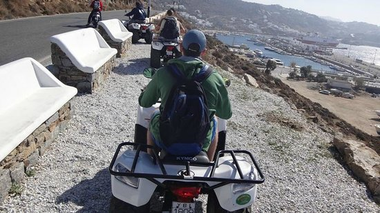Petinos Beach Hotel: On quad bikes overlooking new port