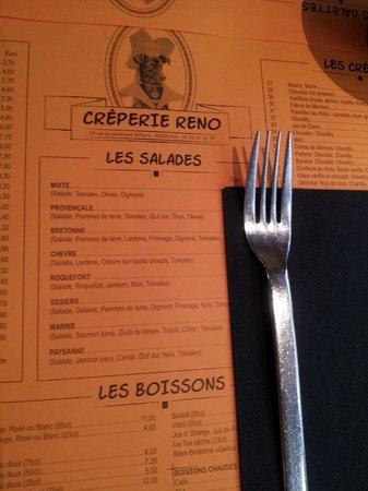 Creperie Reno : the menu