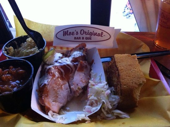 Moe's Original BBQ : Smoked Turkey, Baked Beans, Potato Salad and Cornbread with Drink....$10!!!!