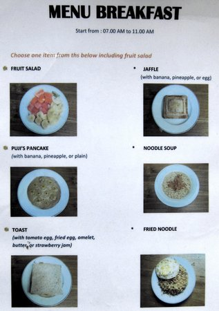 Puji Bungalow: breakfast menu