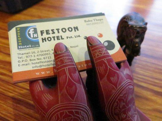 Festoon Hotel: Name card
