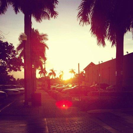 Ramada Hollywood Downtown: Sonnernaufgang vor dem Hotel