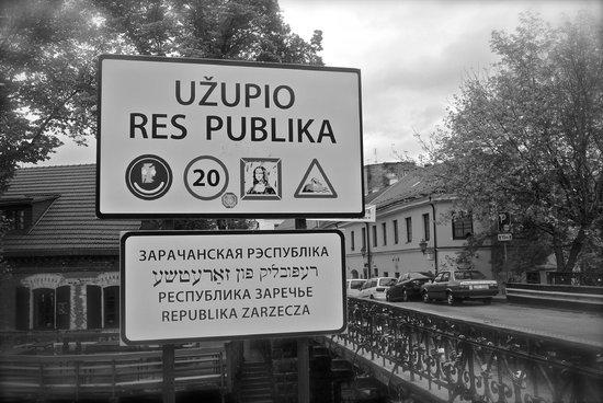 Uzupis: Sign at the border of Užupis