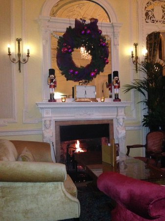 The Oakley Court: Roaring fire in the Drawing Room