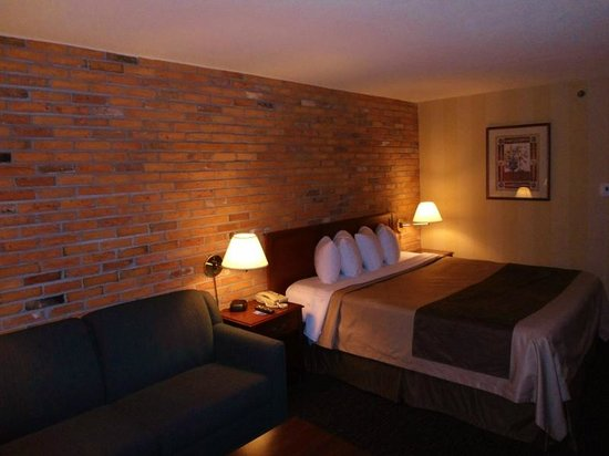 Travelodge Hotel Toronto Airport/Dixon Road: Loved the brick feature wall.  Very warm decor