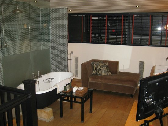Hotel du Vin: View of the duplex bathroom suite, walk in shower and chaise lounge